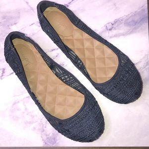 Jellypop Rhodes Navy crochet slide on shoes size 8